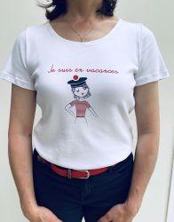 """Women's White Short Sleeve Message T-Shirt """"Je suis en vacances"""""""