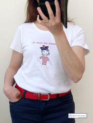 "Women's White Short Sleeve T-Shirt ""Je suis en vacances"""
