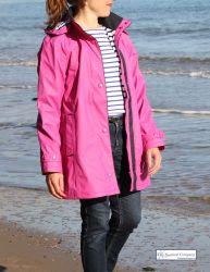 Ladies' Hooded Rain Mac, Fuchsia Pink