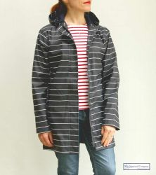Ladies' Navy Blue Nautical Rope Print Raincoat