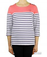 Colour Block Stripe Top, Coral