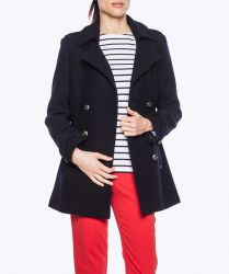 Women's Pea Coat/Reefer Jacket, Navy Blue Wool, Double Breasted