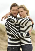 Striped Breton Sweater, Navy Blue/Cream, for Men & Women