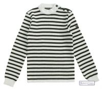 Striped Breton Sweater, Cream/Navy Blue, for Men & Women