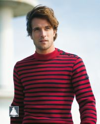 Men's Striped Breton Sweater (Red/Navy Blue)