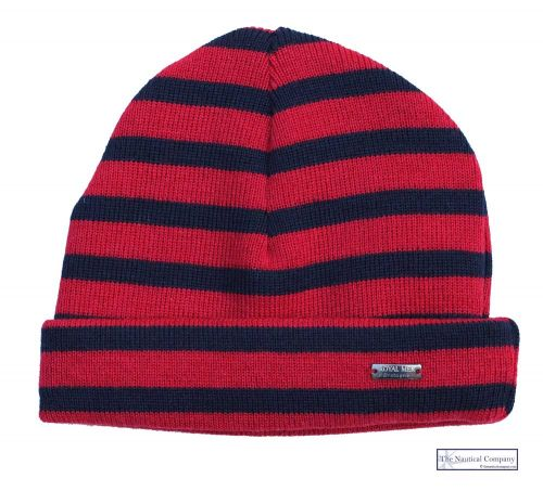 Red and Navy Blue Striped Wool Hat