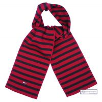 Red and Navy Blue Striped Wool Scarf