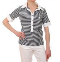Women's Short Sleeved Striped Polo Shirt (Navy Blue/White)