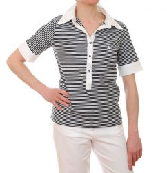 Women's Short Sleeved Striped Polo Shirt (Navy Blue/White) - only UK12 - FR40 - US8 left