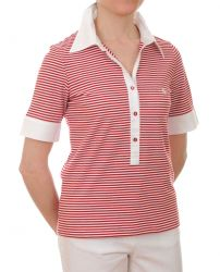 Women's Short Sleeved Polo Shirt (red/white) only UK12 - FR40 - US8 left