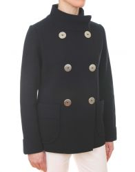 Women's Double Breasted Nautical Peacoat Style Knit Jacket