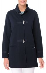 Women's Long French Navy Blue Knit Jacket