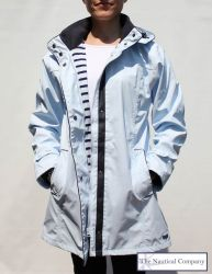 Women's Lined Raincoat with Hood, Light Blue