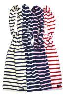 Breton Cotton Striped Scarf, Navy Blue/Cream/White