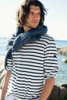Saint James Minquiers Breton Shirt, Cream/Navy Blue
