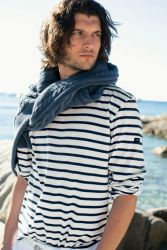 Saint James Minquiers Breton Shirt, Cream/Navy Blue