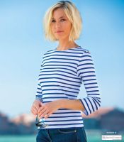 Saint James Striped Tee-Shirt, White/Cobalt Blue
