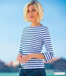 Saint James Striped Tee-Shirt, White/Cobalt Blue