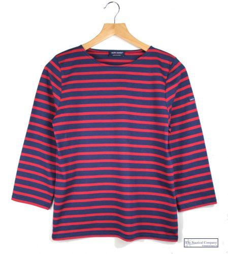 Art Décor: Women's Navy Blue/Red Striped Breton Top Ladies