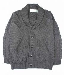 Men's Aran Merino Wool Cardigan, Charcoal Grey