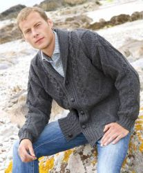 Men's Aran Merino Wool Cardigan, Charcoal Grey