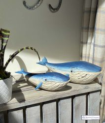 Pair of Blue Whales Figurines