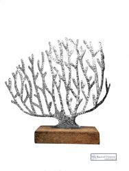 Silver Tin Coral on Stand Ornament