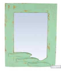 Large Coastal Mirror with Fishes - Minty Green