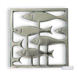 Metal Trivet, Fish Through Weeds