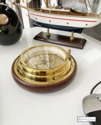 Large Antique Style Rosewood Compass with Dial