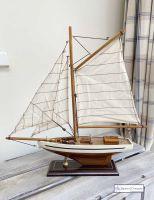 Small Sailing Boat Model - Cream/Brown Hull