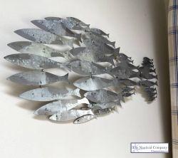 Metal Shoal of Fish Wall Art