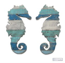 Wooden Seahorse Pair Wall Art