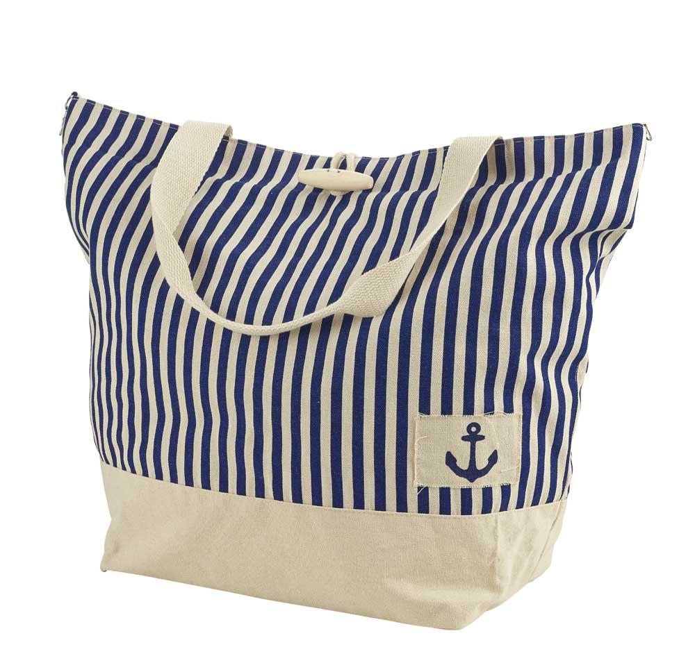 Art Décor: Large Nautical Beach Bag, Navy Blue Stripes With Anchor
