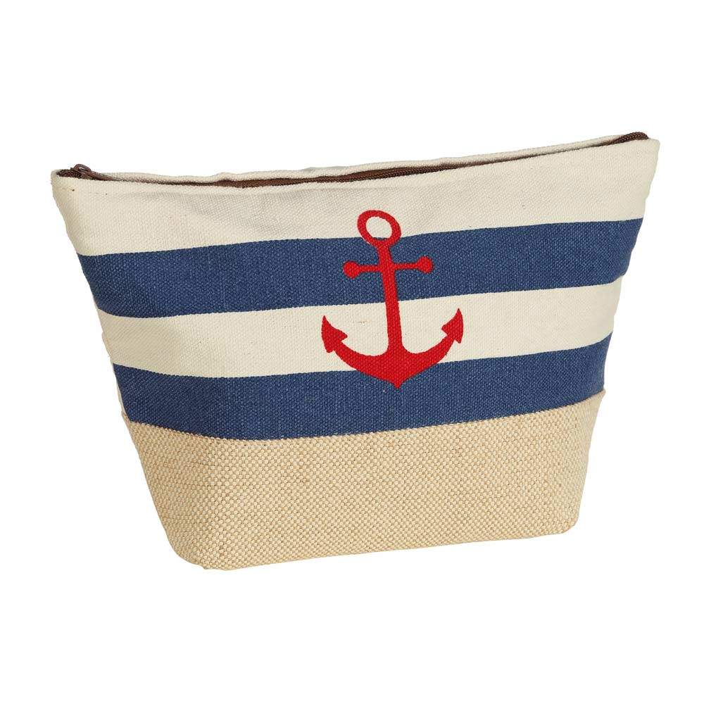 Art Décor: Nautical Striped Makeup Bag With Red Anchor