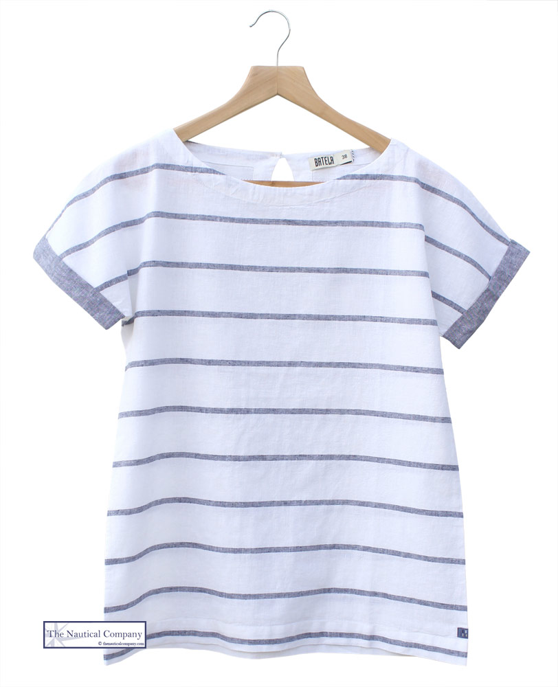 59f80e008db76 Ladies  Short Sleeve Linen Blouse Top