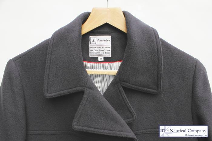 Art Décor: Women's Breton Pea Coat For Ladies, Navy Blue, Wool