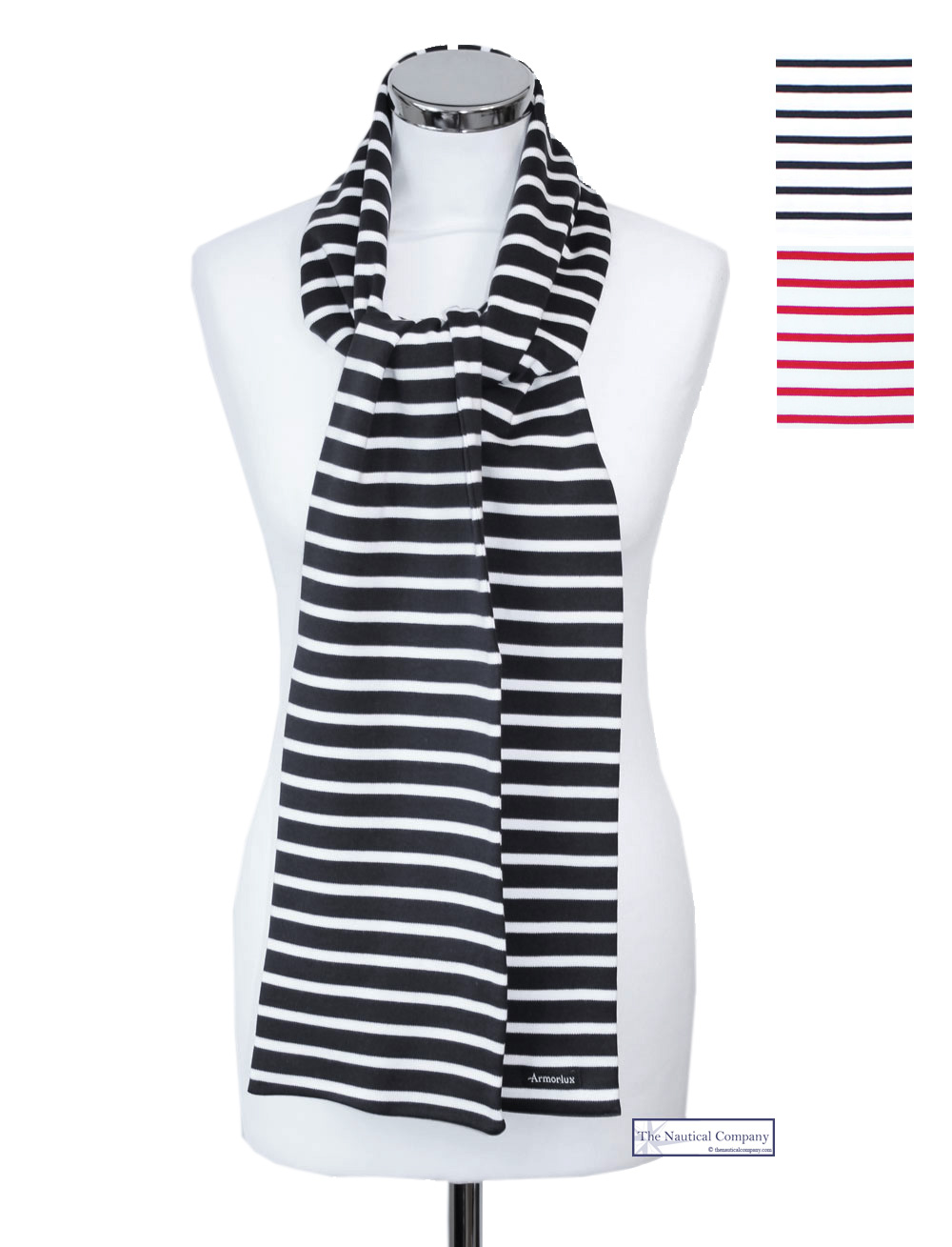 68069d0c Long Breton Cotton Striped Scarves, White/Navy, Armor Lux - THE ...