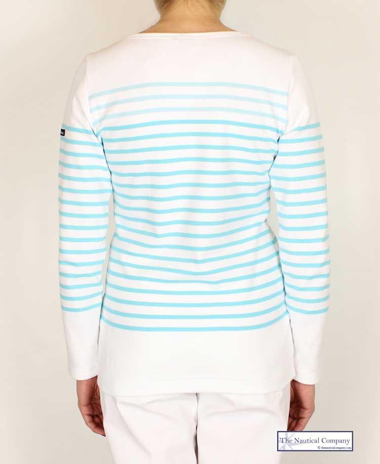 Art Décor: Ladies' Breton Stripe Top, White/Aquamarine