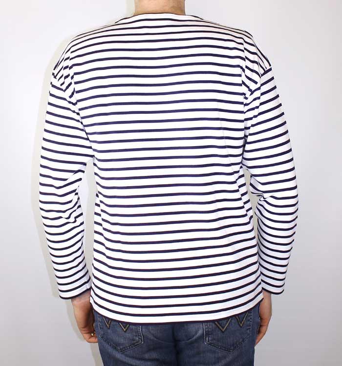 Men S Original Breton Sailor Shirt White Navy Blue Armor Lux The Nautical Company Uk