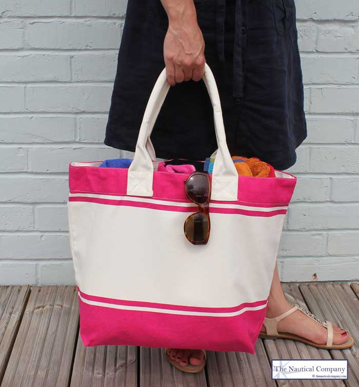 Large Beach Bags, quality canvas, pink fuschia/cream - THE ...