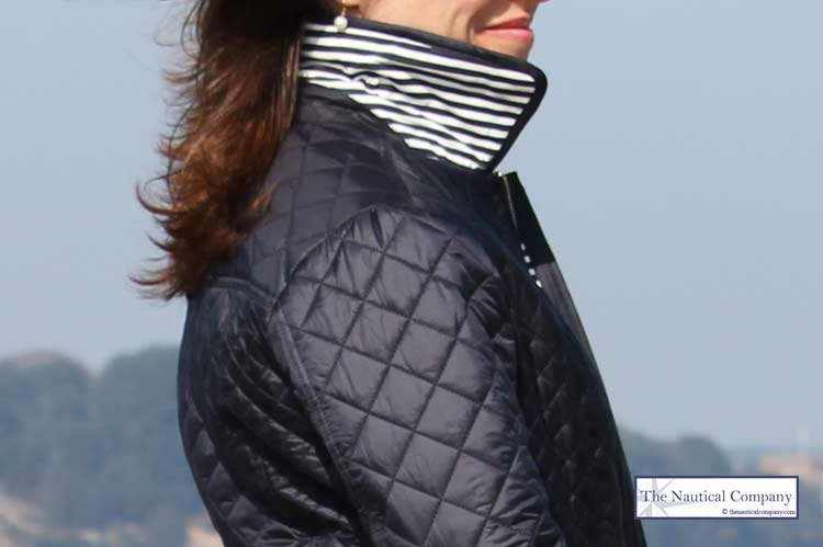 Womens Navy Blue Quilted Jacket Lightweight The Nautical Company Uk