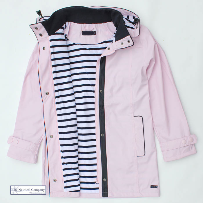 Women S Waterproof Jacket Pink Hooded Striped Lined