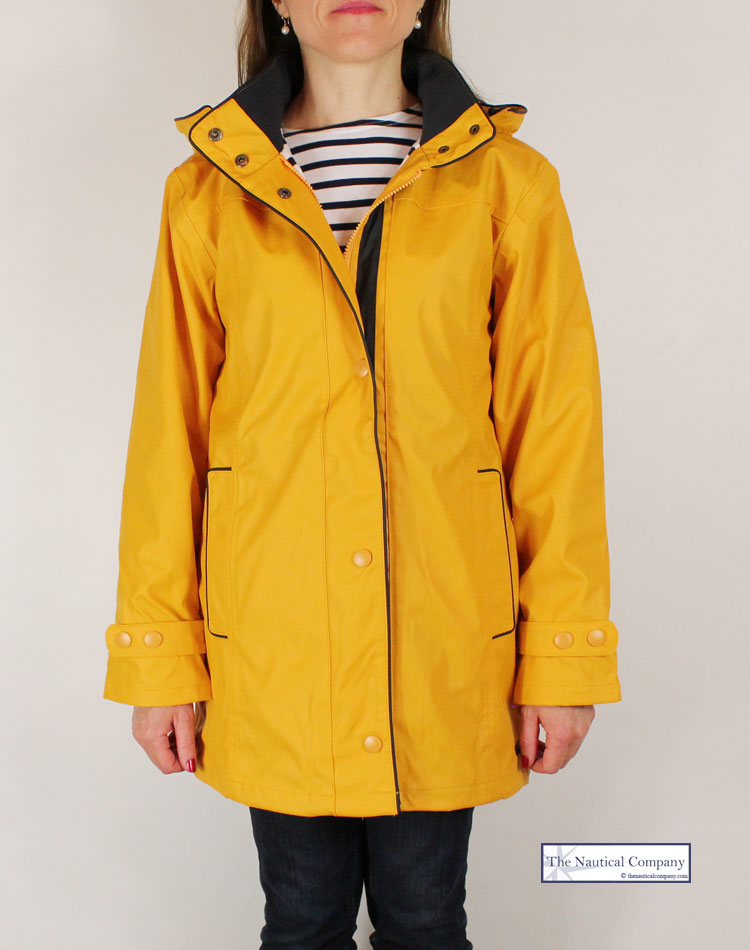 Women's raincoat yellow, striped lined with hood - THE ...