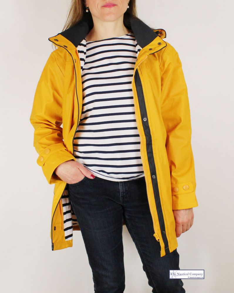 4225c1ea6 Women's raincoat yellow, striped lined with hood - THE NAUTICAL ...