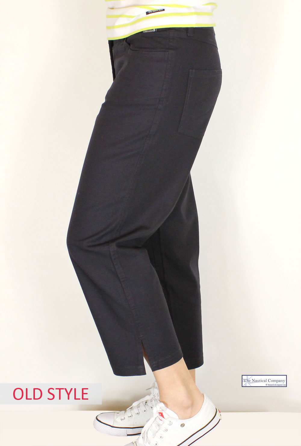 Women S Cropped Trousers Navy Blue Light Cotton Canvas