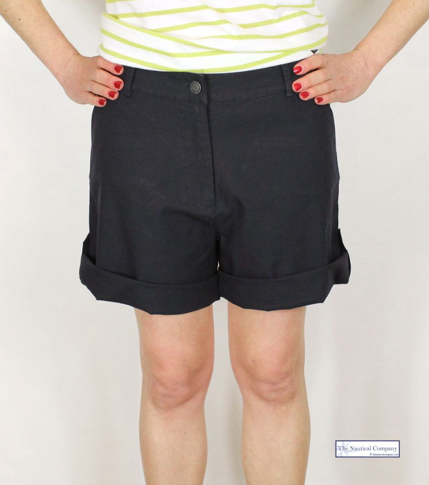Women's Navy Blue Shorts UK, Light Cotton Canvas - THE NAUTICAL ...
