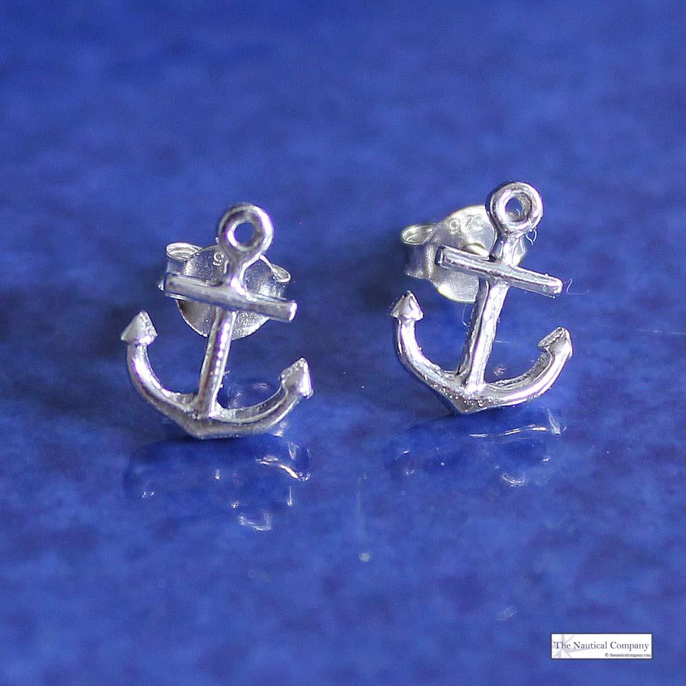 Art Décor: Anchor Sterling Silver Stud Earrings