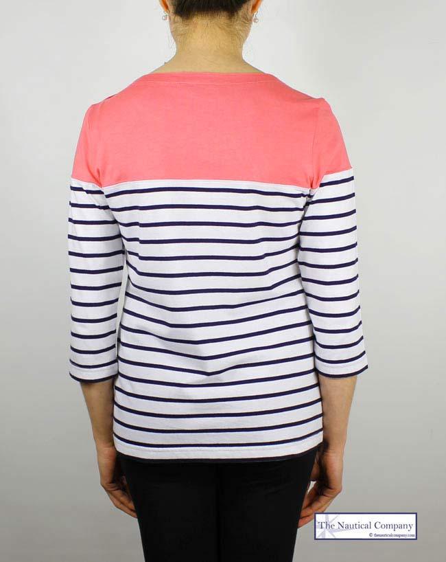 Art Décor: Women's Coral Colour Block Stripe Top