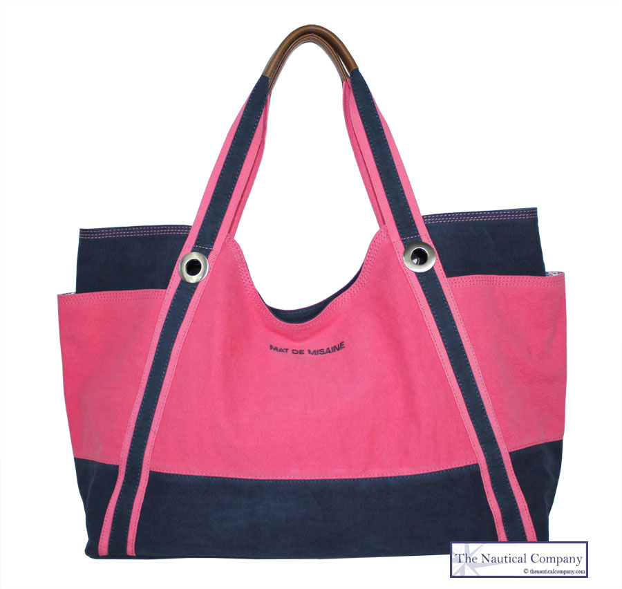 Large Beach Bag, Nautical, Pink/Navy Blue Canvas - THE NAUTICAL ...